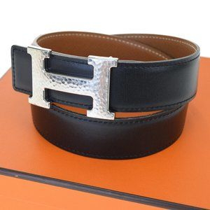 Authentic HERMES Constance H Buckle Belt Leather